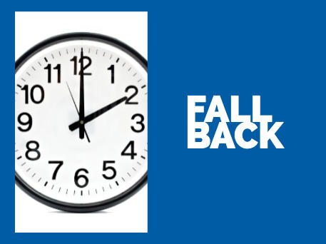 CSHP Fall Back image with a clock at 2:00 am