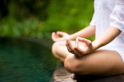 woman practicing meditation or autogenic relaxation